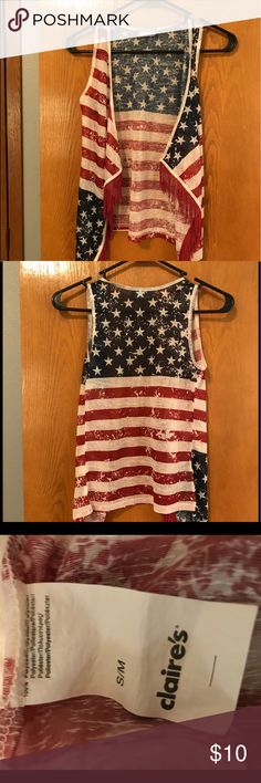 American lightweight vest Flag vest with red fringe Claire's Other