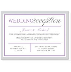 16 wedding reception only invitation wording examples reception reception only invitations modern gray and purple filmwisefo