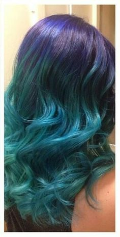 Purple and teal blue ombre dyed hair