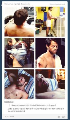 During 5 seasons Cas was wearing 18 layers all the time but thank God it seems to change. Did I mention he did this by TWO EPISODES? :D