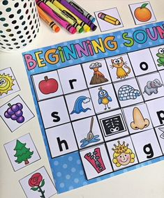 Beginning Sounds literacy center for kindergarten. Your kiddos will love completing these interactive literacy activities in independent or small group settings. This pack features 8 centers designed for Kindergarten students which allow them to practice uppercase letters, lower case letters, beginning sounds, short a words, short e words, short i words, short o words and short u words.