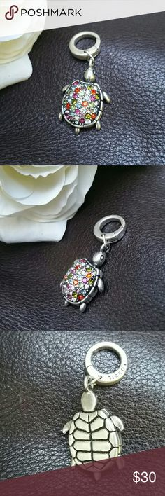Fossil turtle charm Beau-ti-ful Fossil turtle charm! So many beautiful colors! Red, purple, pink, green, aqua and clear stones!!! He's in great shape, like new, no stones missing! Fossil Jewelry