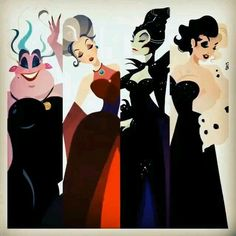 Ursula, Lady Tremaine, Maleficent, and Cruella. The bad Disney villains are sure looking good! Disney Pixar, Disney Memes, Walt Disney, Disney Nerd, Disney Fan Art, Disney Girls, Disney Animation, Disney And Dreamworks, Disney Magic