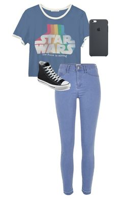 """./../././//...//..."" by anna-mae-equils on Polyvore featuring Junk Food Clothing, River Island, Converse, converse, starwars and tomtopstyle"