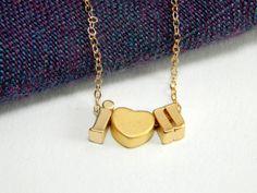 I love you gold necklace i love u necklace love by Omoroka on Etsy, $38.00