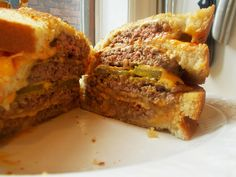 """The """"money shot"""" of my Grilled Cheese Burger Burger Grilled Cheese Burger. Was so rich and decadent but so darn delicious! #foodporn #food #recipe #hamburger #yummy"""