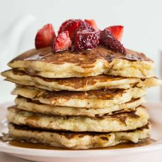 These pancakes have an extremely fluffy, soft, mouth-in-your-mouth texture. Simple ingredients and no buttermilk required.