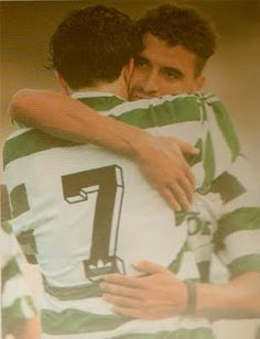Noureddine Naybet (Marocco) hugs Luis Figo in the1994-95 season.