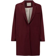 American Vintage Funysville Coat - Burgundy (25.260 RUB) ❤ liked on Polyvore featuring outerwear, coats, jackets, coats & jackets, burgundy, burgundy coat, american vintage, long sleeve coat y red coat