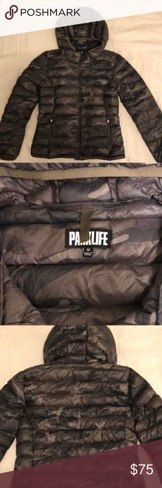 Aritzia PARKLIFE Camo Puffer Jacket Comes with stuff sack. Still in great condition. Fits true to size. Awesome because it has a hood. Aritzia Jackets & Coats Puffers