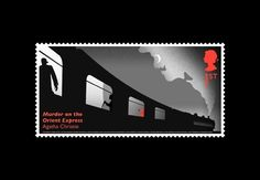 One of the six Agatha Christie stamps by Royal Mail. This stamp designed by Jim Sutherland pictures a scene from Murder on The Orient Express.