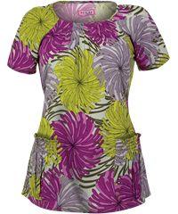 Koi Scrubs Full Bloom Print Top For SPRING