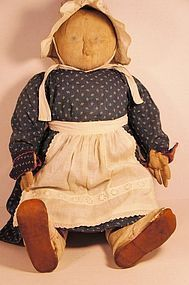 Big heavy antique cloth doll in blue calico dress (item #1269357) #dollshopsunited