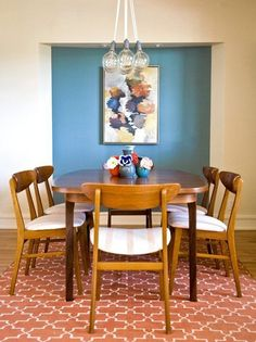Viyet Style Inspiration | Dining Room | Mid-Century Modern | Drexel Table, chanedlier | Cozy and Clean in California — Professional Project