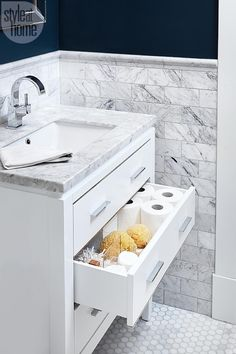 Basement renovation: Bathroom organization {PHOTO: Barry Calhoun}