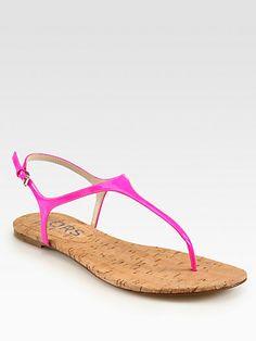 Kors Michael Kors - Joni Patent Leather T-Strap Sandals - Saks.com