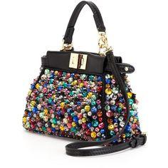 Fendi Micro Peekaboo Tote (€1.965) ❤ liked on Polyvore featuring bags, handbags, tote bags, tote purse, fendi tote bag, handbags totes, colorful tote bags and genuine leather purse