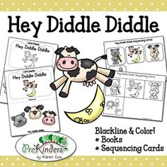 Hey Diddle Diddle illustrated nursery rhyme books and sequencing cards. Includes both color & blackline!