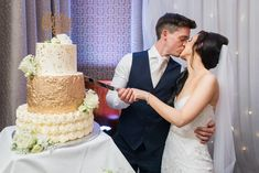Kayleigh and Daniel only had eyes for each other as they cut their stunning gold themed wedding cake. This incredible three tiered cake was created by O'Carrolls Cakes. Photo by Kevin Murphy Photography Gold Wedding Theme, Themed Wedding Cakes, Our Wedding, Wedding Venues, Wedding Photos, Wedding Cake Cutting, Kevin Murphy, Civil Ceremony, Industrial Wedding