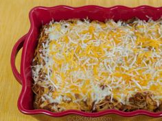 K&W Cafeteria Baked Spaghetti - CDKitchen.com - K&W is a popular cafeteria in the south east and is known for it's delicious baked spaghetti. This copycat version is made with ground beef, pasta, ketchup, beef stock, lots of seasonings and two types of cheese.
