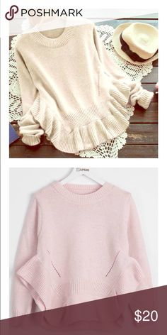 Cupshe Find The Spark Sweater comfy sweater• round neck • slightly cropped • so cozy • light pink• never worn✨ cupshe Sweaters Crew & Scoop Necks