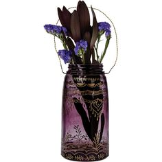 Mason Jar With Moroccan Mehndi Design Large Amethyst Purple Henna Tea... ($30) ❤ liked on Polyvore featuring home, home decor, candles & candleholders, grey, home & living, home décor, vases, purple votive candles, gray home decor and glass bottle vases