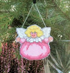 Cross Stitch Chubby Angel Cutout Christmas Ornament in Pink