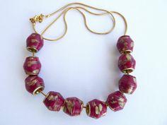 Pandora style burgundy paper bead necklace