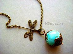 Hey, I found this really awesome Etsy listing at https://www.etsy.com/listing/62779857/turquoise-necklace-with-dragonfly