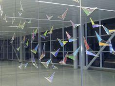 Flight Wave - Arlon and Mary Jo Bayliss, Indianapolis International Airport. Night Light, Light Up, Light Project, Dichroic Glass, International Airport, Public Art, Art And Architecture, Installation Art, Geometry