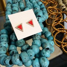 Color Loving | Coral Triangle Studs $48 | Turquoise Long Necklace $40  www.meredithjackson.com #majdesigns #necklaces #earrings #studs #jewelry #turquoise #coral #CZs #shopsmall #charlotte