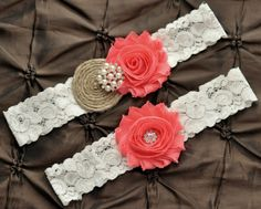 Burlap Wedding Garter Set Bridal Garter Set  by Avenue22Bridal, $26.00