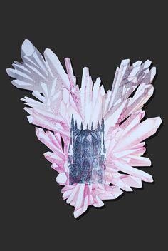 """Lapis Philosophorum"" - The Mineral Resonance by G&K Lusikova #alchemy #architecture #art #contemporaryart #paper #etching #crystal #science #heart #romantic"