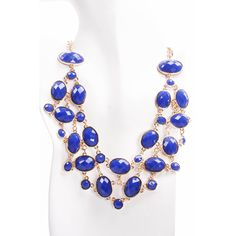 blue oval faceted stones bib necklace (535 UYU) ❤ liked on Polyvore featuring jewelry, necklaces, blue, statement necklace, blue statement necklace, polka dot necklace, dot jewelry and polka dot jewelry
