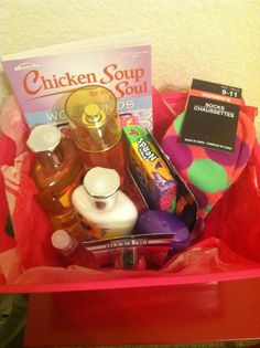 Gift Basket idea for teen, tween girl, and college student. Stock up during Bath and Body Work semi annual sale.