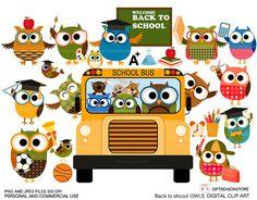 Terug naar school uil illustraties voor van Giftseasonstore op Etsy