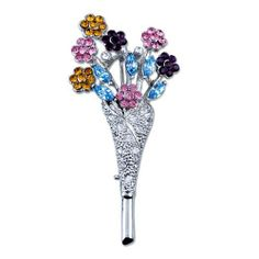Pugster Inspired Colorful Swarovski Crystal Diamond Accent Bouquet Flower Brooches And Pins For Holiday Gifts ? Pugster. $11.47. One free elegant cushioned Gift box available with every order from Pugster.; Money-back Satisfaction Guarantee.; Can be pinned on your gown or fastened in your hair with bobby pins.; Exquisitely detailed designer style with Swarovski cystal element.; Occasion: casual wear,anniversary, bridal, cocktail party, wedding