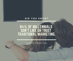 Did You Know? of millennials don't like or trust traditional marketing. Source: The McCarthy Group Fun Fact Friday, Service Quotes, Seo Company, Seo Services, Did You Know, Fun Facts, Trust, Traditional, Marketing
