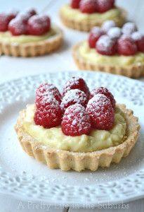 Raspberry and Vanilla Bean Cream Tarts