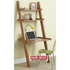 Knockdown Ladder Desk Woodworking Plan — While browsing in a furniture store for a small desk for his wife, reader Joel Rupert, found inspiration when he spied a ladder-type bookcase. He modified the design with only two upper shelves and a desk-height worksurface perfect for a laptop computer. Knockdown fasteners securely hold the desk together, and allow quick disassembly for storage or transport. http://www.woodstore.net/knwade.html