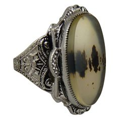 Vintage Sterling Silver and Moss Agate Ring Clark and Coombs from ornaments on Ruby Lane