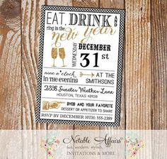 Mini Chevron Eat Drink and Ring in the New Year 2015 Invitation - Black White Gold Glitter New Years Eve Party Invitation by NotableAffairs Birthday Party Drinks, Soccer Birthday Parties, Race Car Birthday, Birthday Party Invitations, Boy Birthday, Princess Birthday, Nye Party, Birthday Ideas, Senior Graduation Invitations