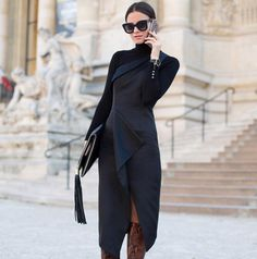 Love the cut and drape of this dress--assuming the long sleeve and turtleneck is part of it and not a separate.