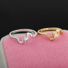 18K Gold Plated Special Design Inlay White Zircon Jewelry Copper Finger Ring Two Colors