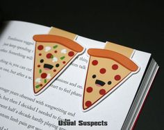 Now you can safely add hot, bubbly cheese into any book you please. These two fun wedges securely cling to your favorite page edges and they make a point of keeping your place precisely despite being