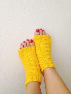 Yellow  toeless  yoga socks sockspilatesflip by NesrinArt on Etsy, $21.00