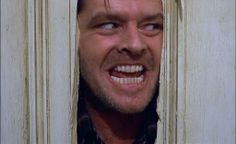 """The movie """"The Shining"""", directed by Stanley Kubrick, based on the novel by Stephen King. Seen here, Jack Nicholson as Jack Torrance, peer. The Shining, Film Shining, Jack Nicholson, Scary Movies, Great Movies, Horror Movies, Halloween Movies, Halloween Costumes, Happy Halloween"""
