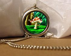Mushroom Art Necklace, Mushroom Pendant, Forest Necklace, Forest Mushroom, Fantasy Artwork, Art Pendant, Floating Charm, Fantasy Pendant by NanaFantasyJewelry on Etsy