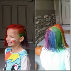 Rainbow dash hairstyle - perfect for Halloween or crazy hair day! Rainbow dash hairstyle - perfect f Little Girl Hairstyles, Cute Hairstyles, Braided Hairstyles, Halloween Hairstyles, Red Ribbon Week, Crazy Hair Days, Womens Health Magazine, Christian Wife, Tattoos For Kids