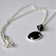 Koralina / Black Onyx Black Onyx, Pearl Necklace, Swarovski, Pearls, Handmade, Jewelry, String Of Pearls, Hand Made, Jewlery
